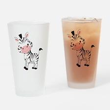 Cute Baby Zebra Drinking Glass