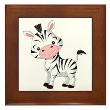 Cute Baby Zebra Framed Tile