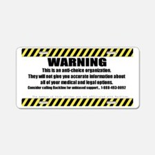 WARNING Sticker Aluminum License Plate