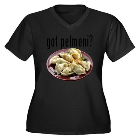 got pelmeni? Women's Plus Size Dark V-Neck T-Shirt