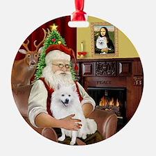 Santas American Eskimo Spitz Ornament