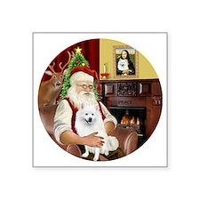 """Santas American Eskimo Spit Square Sticker 3"""" x 3"""""""