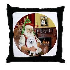 Santas American Eskimo Spitz Throw Pillow