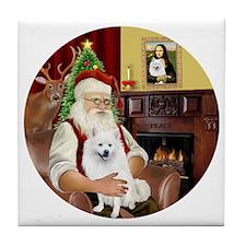 Santas American Eskimo Spitz Tile Coaster