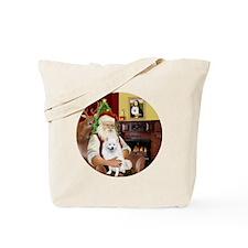 Santas American Eskimo Spitz Tote Bag
