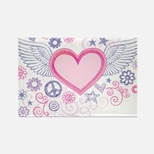 Winged Heart Rectangle Magnet
