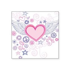 "Winged Heart Square Sticker 3"" x 3"""