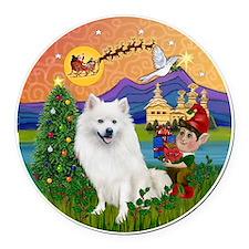 American Eskimo Dog Round Car Magnet