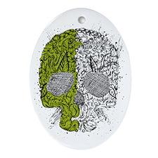 Grunge skull Oval Ornament