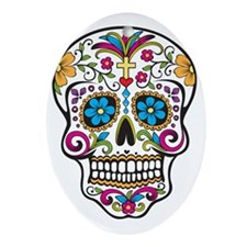 Sugar Skull Oval Ornament