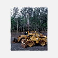 Bulldozing a rainforest, Hawaii Throw Blanket