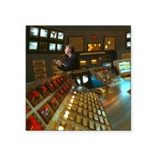 "Control Room in a Float Gla Square Sticker 3"" x 3"""