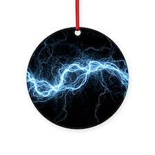 Bolt of lightning, computer artwork Round Ornament