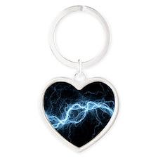 Bolt of lightning, computer artwork Heart Keychain
