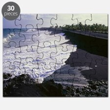 Black sand beach from lava fragments Puzzle