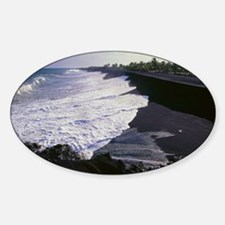 Black sand beach from lava fragment Decal