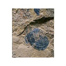 Brachiopod fossil shell Throw Blanket