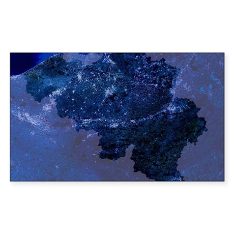 Belgium by night, satellite im Sticker (Rectangle)