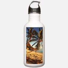 Beach with palm trees Water Bottle