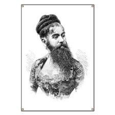 Bearded lady, 19th century Banner