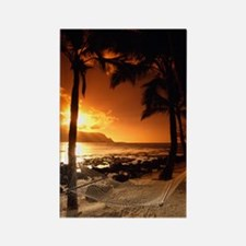 Beach at sunset Rectangle Magnet