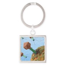 Bacteriophages attacking bacteria Square Keychain