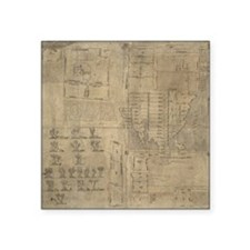 "Aztec map, 16th century Square Sticker 3"" x 3"""