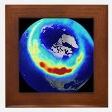 Aurora from space Framed Tile