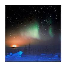 Aurora Borealis display over Manitoba Tile Coaster