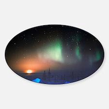 Aurora Borealis display over Manito Sticker (Oval)
