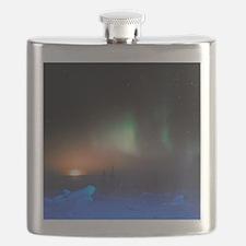 Aurora Borealis display over Manitoba, Canad Flask