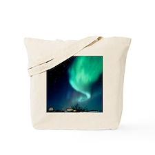 Aurora Borealis and satellite station in Tote Bag