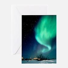 Aurora Borealis and satellite statio Greeting Card