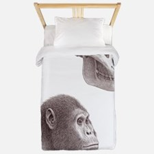 Australopithecus garhi skull and face Twin Duvet