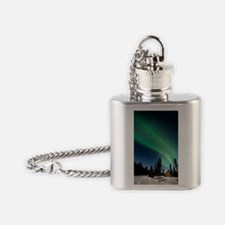 Aurora borealis in Alaska Flask Necklace
