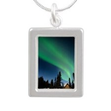 Aurora borealis in Alask Silver Portrait Necklace