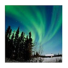 Aurora borealis in Alaska Tile Coaster