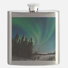 Aurora borealis in Alaska Flask