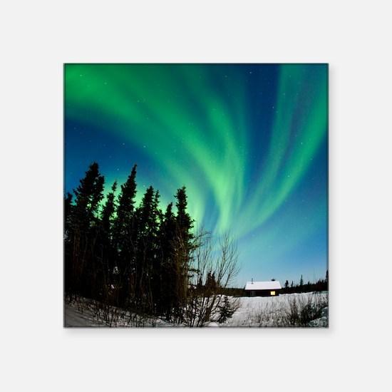 """Aurora borealis in Alaska Square Sticker 3"""" x 3"""""""
