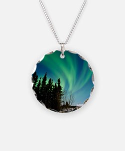Aurora borealis in Alaska Necklace Circle Charm