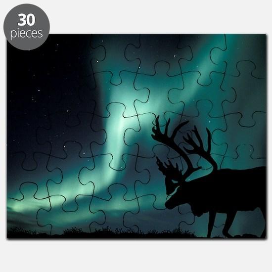 Aurora borealis and caribou Puzzle