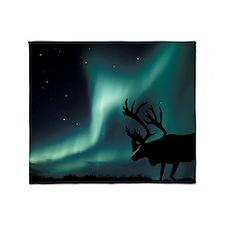 Aurora borealis and caribou Throw Blanket
