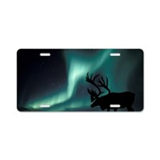 Aurora borealis and caribou Aluminum License Plate