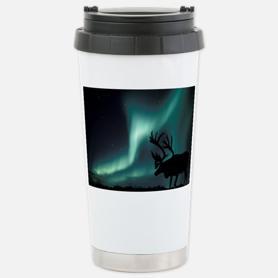 Aurora borealis and caribou Stainless Steel Travel
