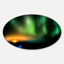 Aurora borealis display with settin Sticker (Oval)