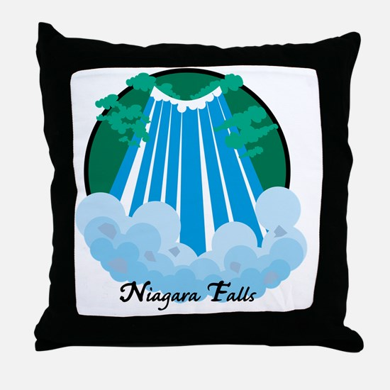 NiagardaFalls1Wh Throw Pillow