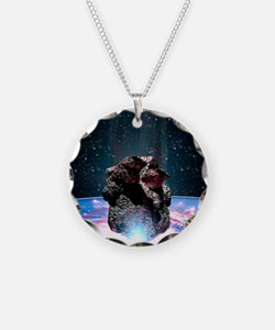Asteroid impact Necklace Circle Charm