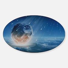 Artwork showing Chicxulub impact ev Sticker (Oval)