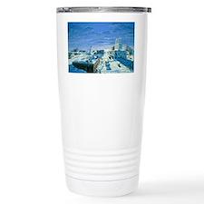 Artwork of ruined city destroye Travel Mug