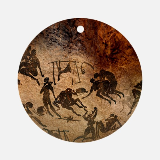 Cave painting, artwork Round Ornament